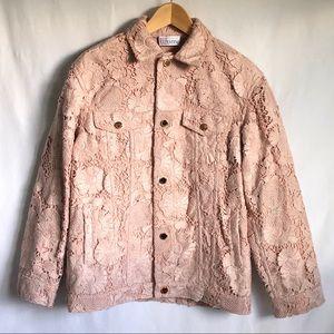 RED Valentino Pink Designer Floral Lace Jacket